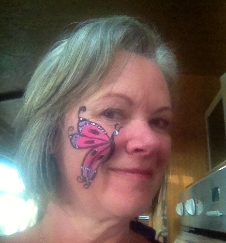 A selfie after a full day of facepainitng - today I was a butterfly