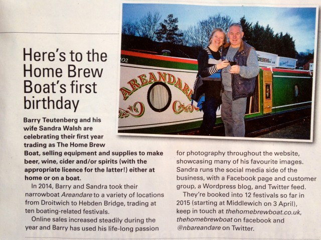 The Tillergraph February 2015 The Home Brew Boat