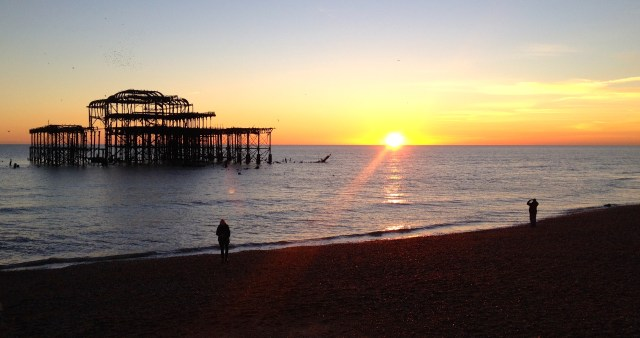 Brighton old pier sunset