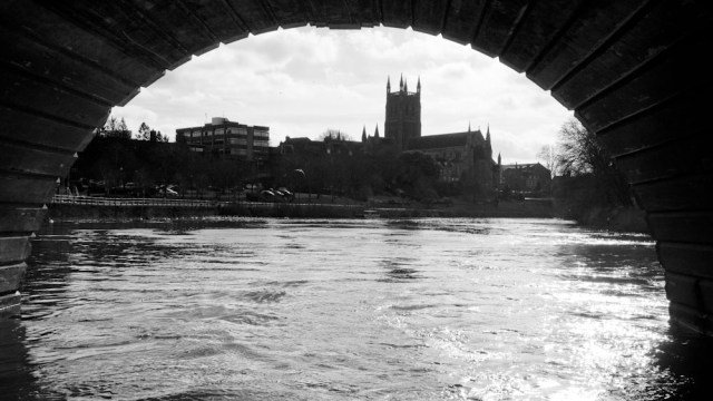 Under the arch on the bridge of the Severn in Worcester