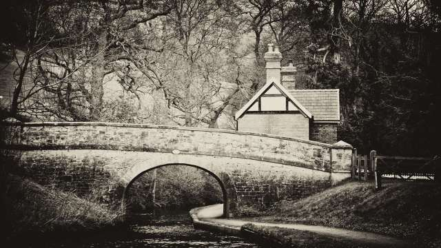 Black and white bridge and house