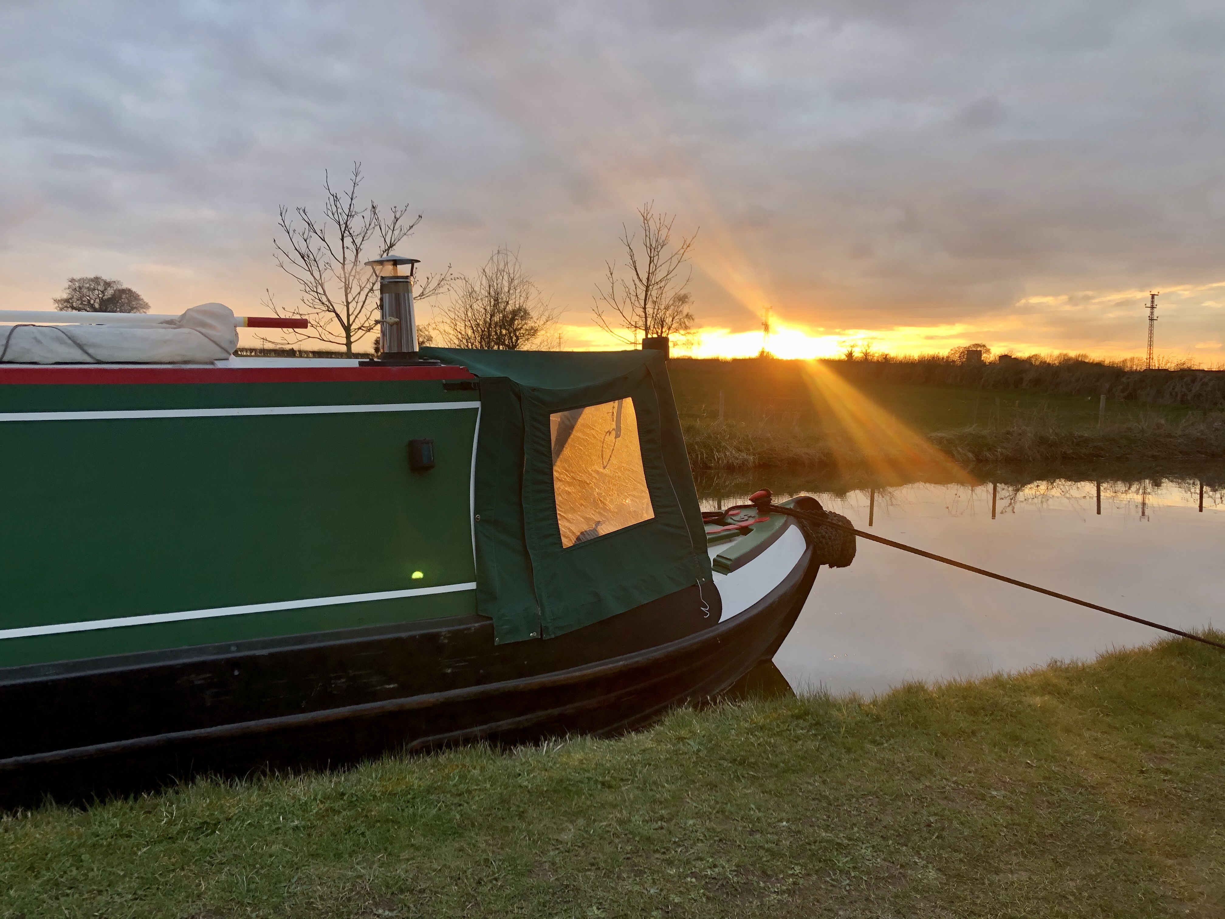 Sunset at Hurleston on the Shropshire Union Canall March 2020