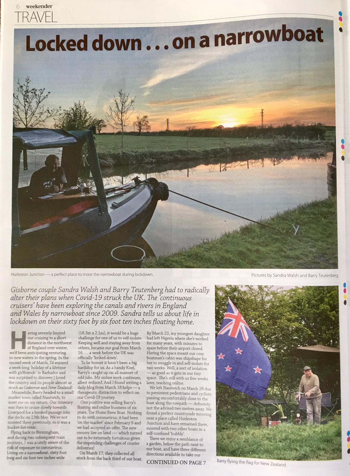 Barry & Sandra in the Gisborne Herald Weekender May 2020