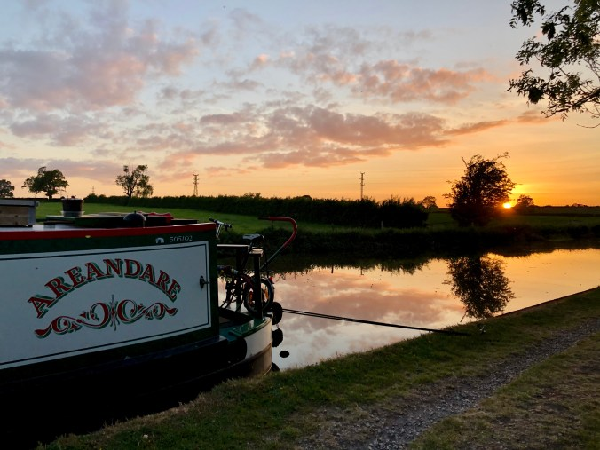 Sunset on the Shropshire Union Canal May 2020
