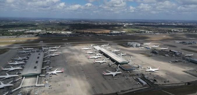 British Airways planes sitting forlornly at Heathrow Airport August 2020
