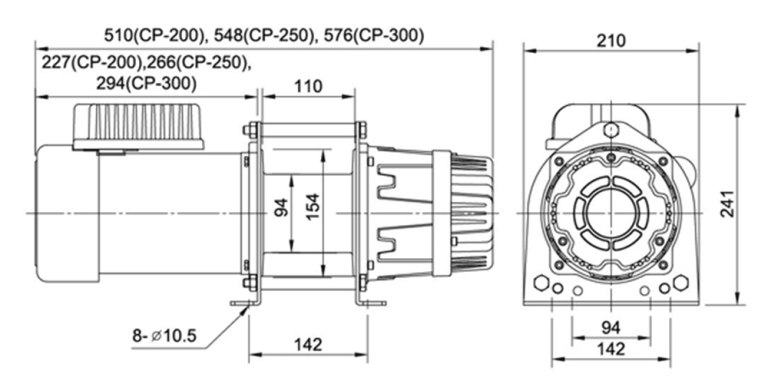 comeup CP200_250_300 range electric winch SPEC Drawing
