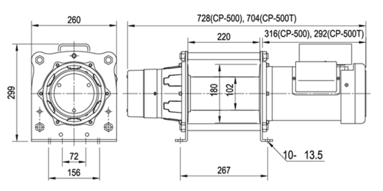 CP500 & 500T Electric Winch Spec Drawing