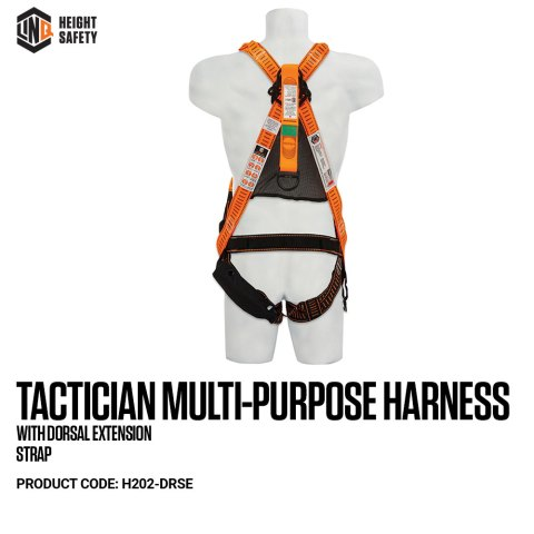 H202-DRSE LINQ Tactician Multi-Purpose Harness With Dorsal Extension Strap on Dummy BACK