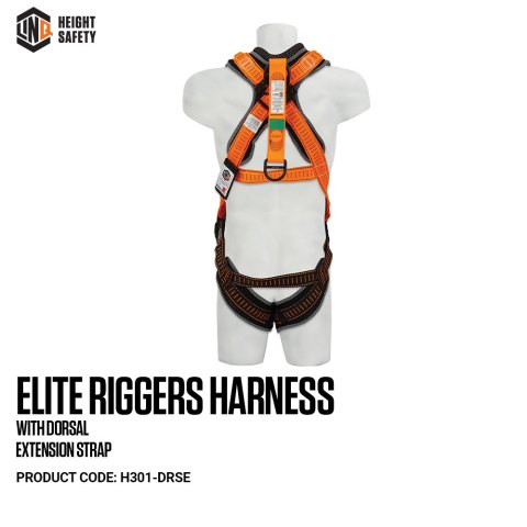 H301-DRSE LINQ Elite Riggers Harness With Dorsal Extension Strap on Dummy