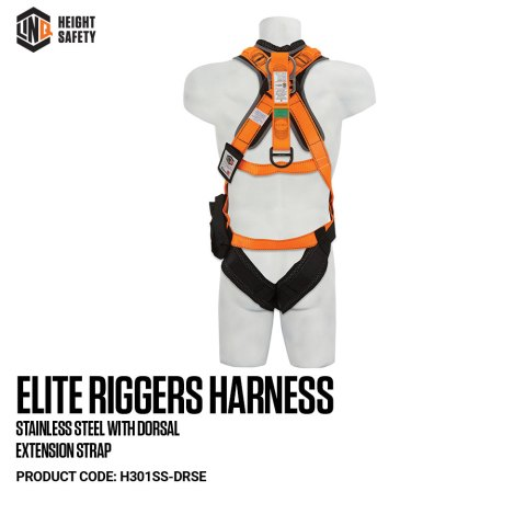 H301SS-DRSE LINQ Elite Riggers Harness With Dorsal Extension Strap on Dummy