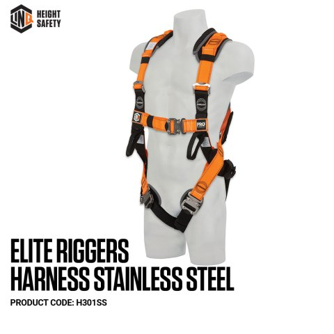 H301SS LINQ Elite Riggers Harness Stainless Steel on Dummy SIDE