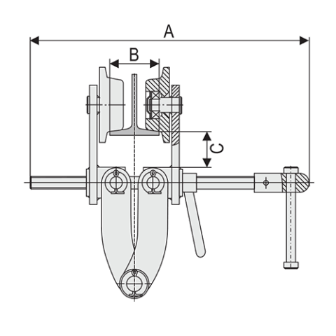 Girder Clamp Trolley Spec Drawing End View