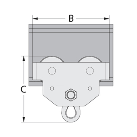 Push Type Girder trolley Spec Drawing Side