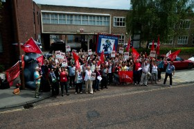 Unite the Union organised a demonstration against government cuts outside the Job Centre Plus office in Durham