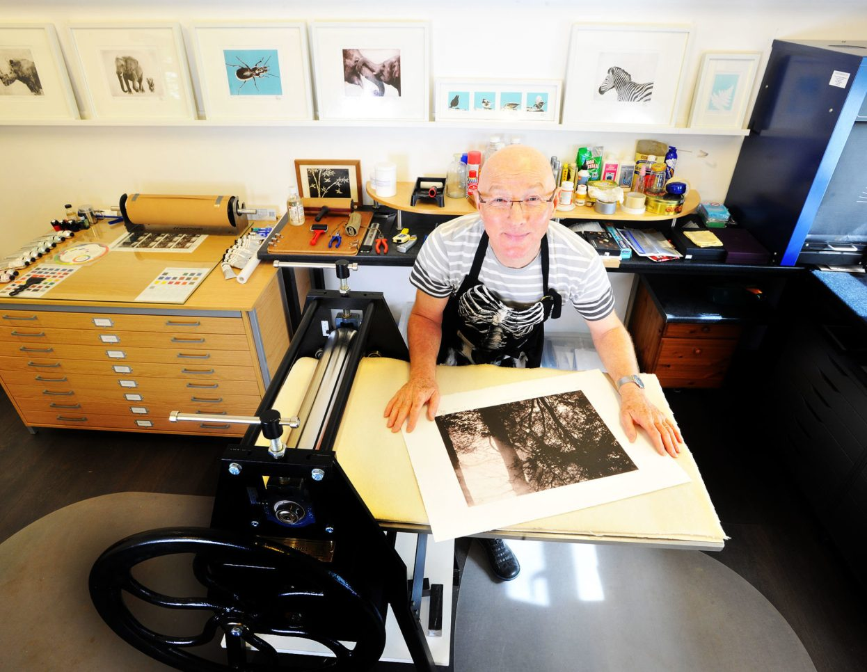Barry Gowers in his print making studio