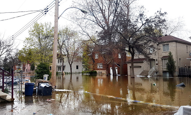 image of flooded residential street in Montreal