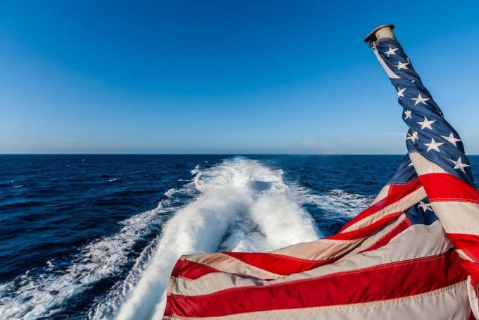 American Flag on the way to Catalina