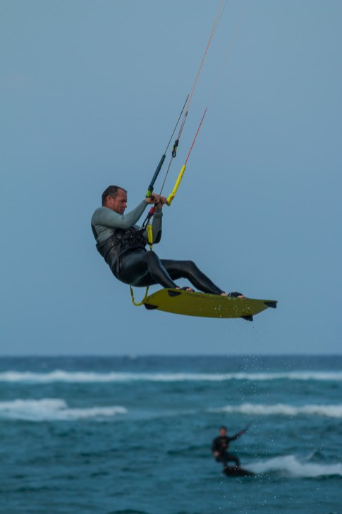 Kite Surfer hangs in mid air