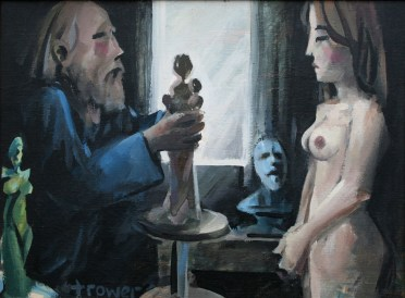 Sculptor and Model in Dark Room by Barry Trower (1991).