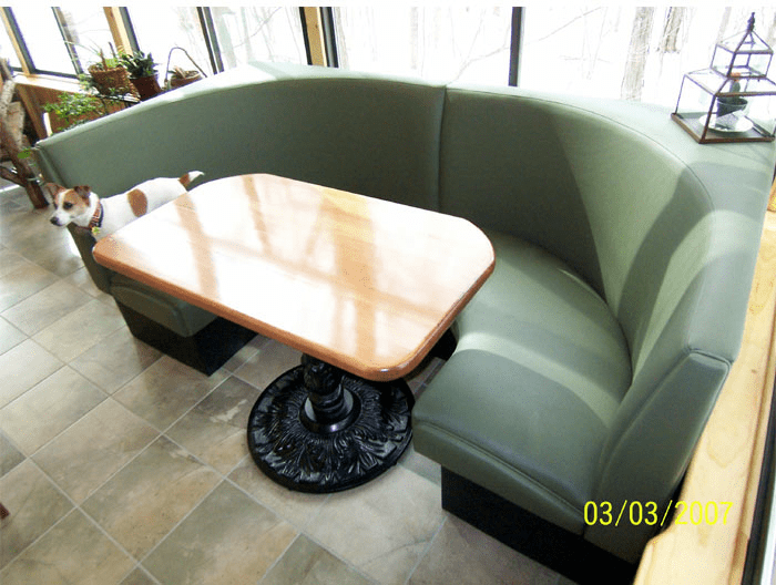 Rustic Circle Booth Wood Table Patio Booth Sun Room Seating