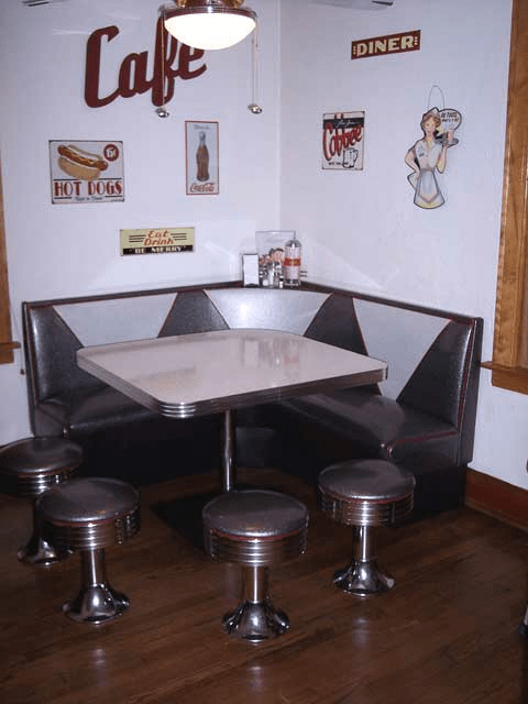 L Shaped Booth Home Kitchen Floor Mounted Stools Booth