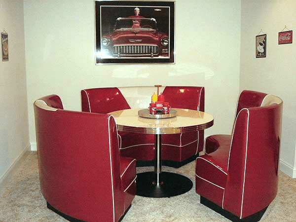 Circle Booth Modern Retro Red And Silver Home Game