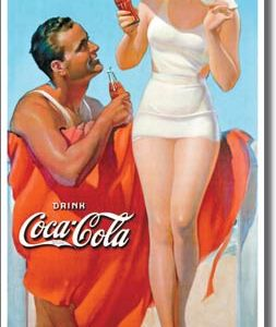 COKE Man & Woman Beach Tin Sign