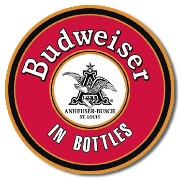 BUD - In Bottles Round Tin Sign