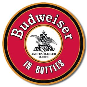 BUD - In Bottles Round Tin Sign