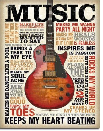 Music Inspires Me Tin Sign