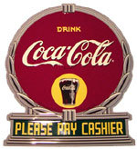 "Coca-Cola Metal Sign - ""Please Pay Cashier"""