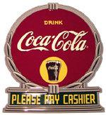 "Coca-Cola Metal Sign - ""Please Pay Cashier"""