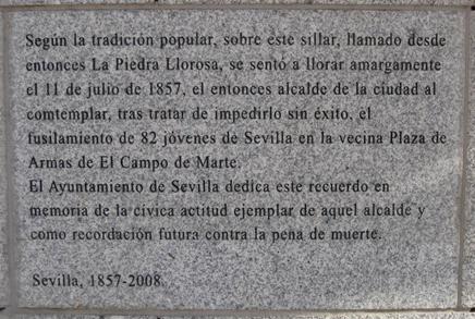 curiosities in seville tearful stone plaque