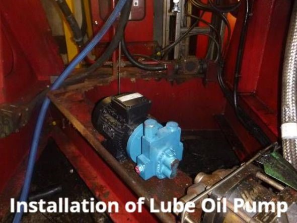 Installation of Lube Oil Pump labelled