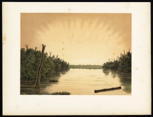 Antique Print of the Paminger Lakes by Perelaer (1888)