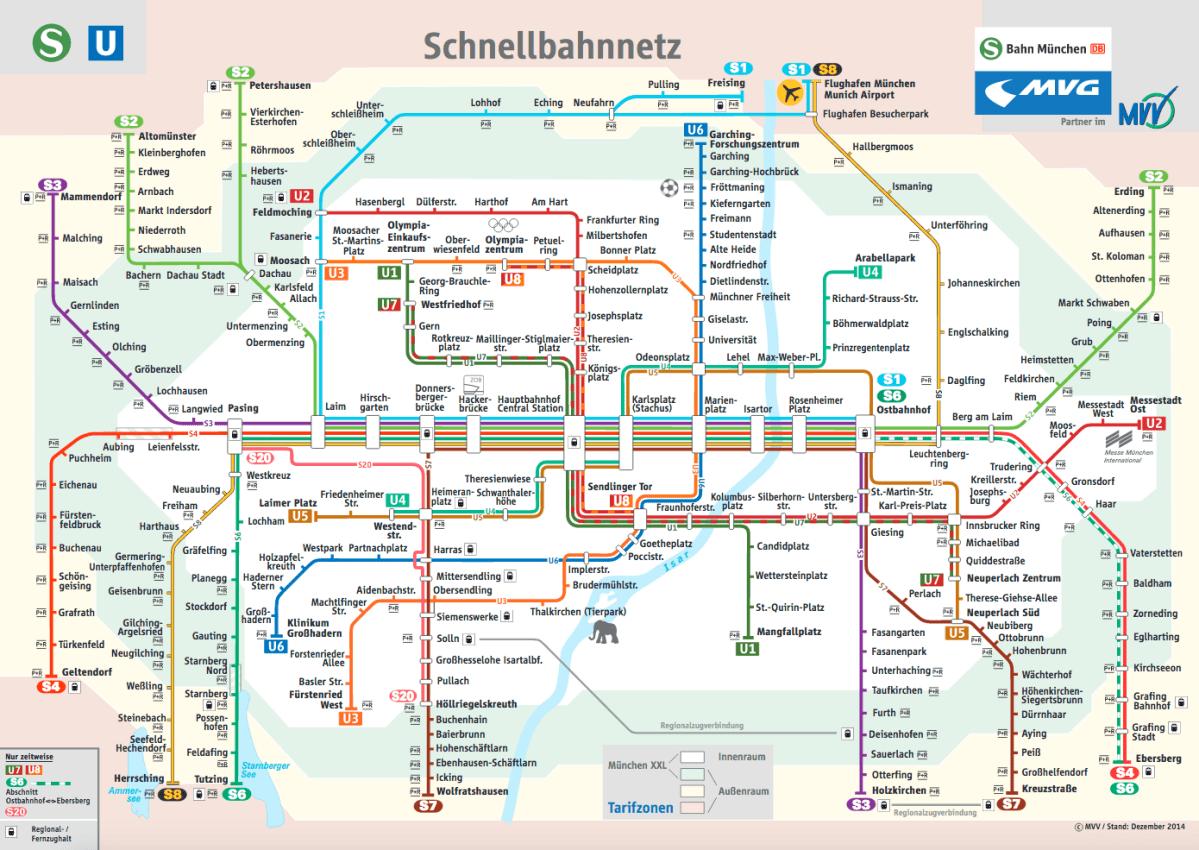 U-Bahn und S-Bahn Karte München