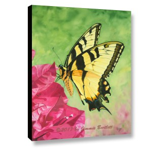 Butterfly on the Bougainvillea canvas print