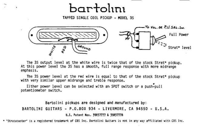 wiring diagrams  bartolini pickups  electronics