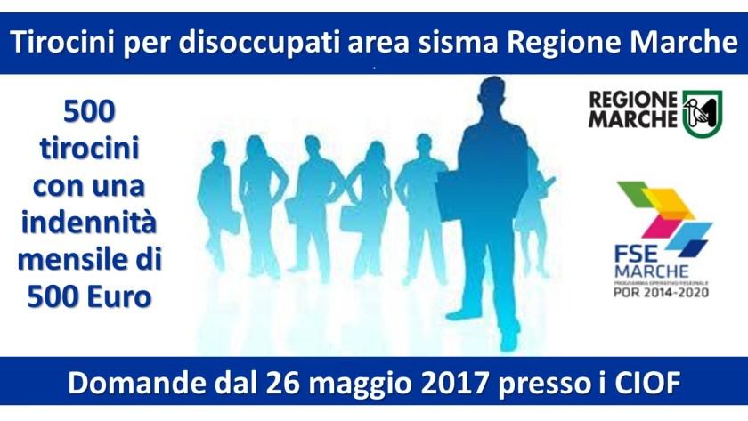 Tirocini per disoccupati area sisma Regione Marche