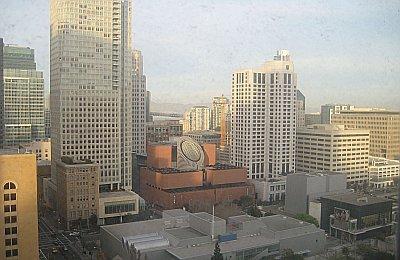 SF MoMA and the Bay Bridge thru my dirty hotel window.