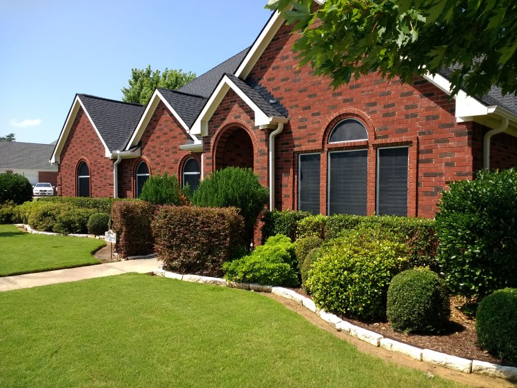 brick home & lawn