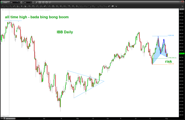 IBB Daily showing 1) all time high and 2) the BUY pattern present