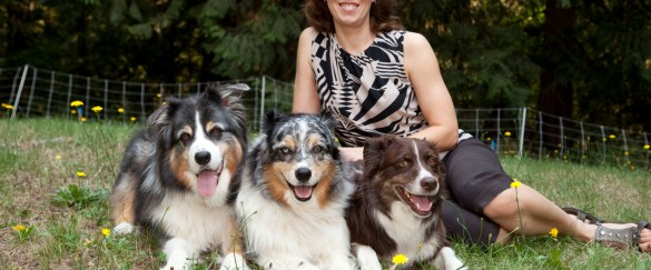 Dr. Adophe and her pack.