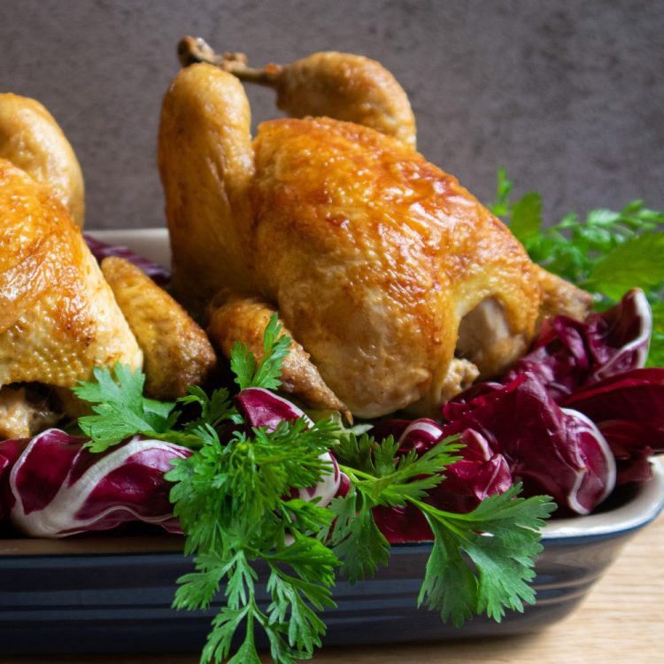 Roasted poussin chicken