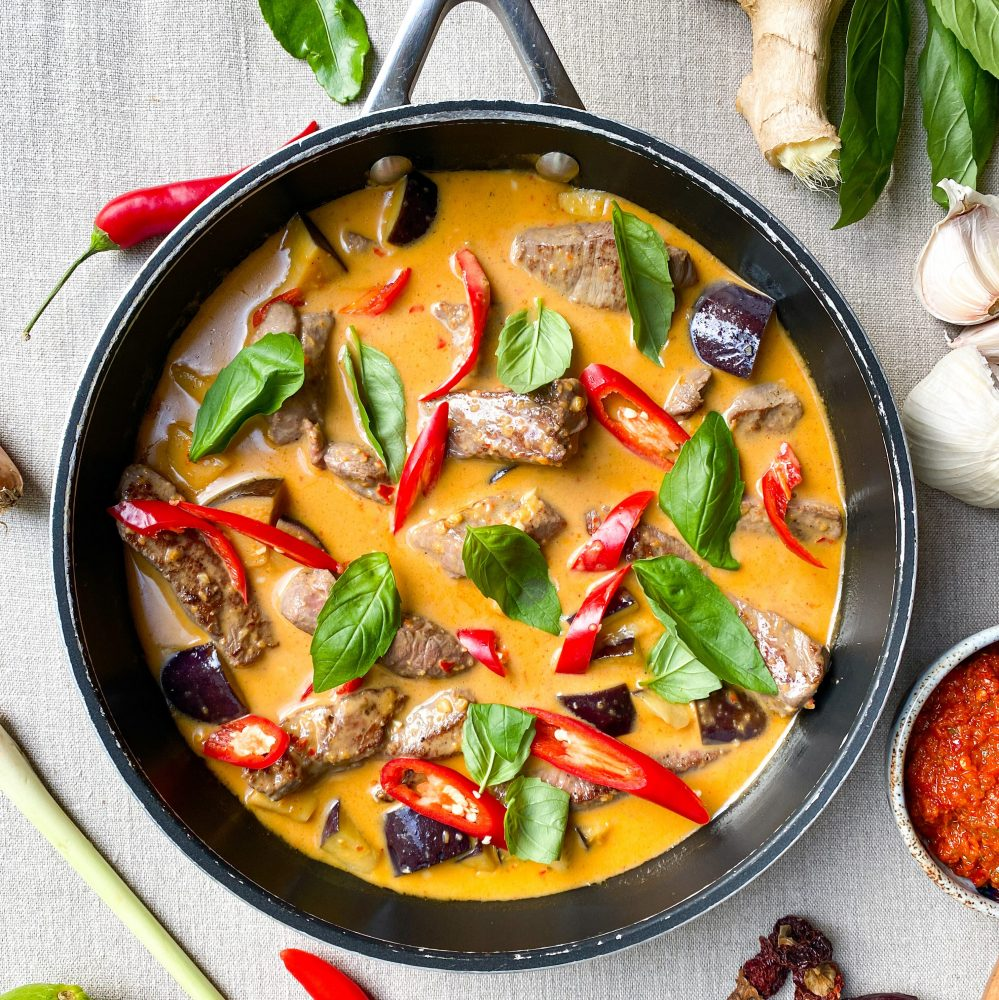 Thai red beef curry with aubergine and basil