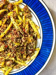 Quinoa, yellow beans and chestnuts