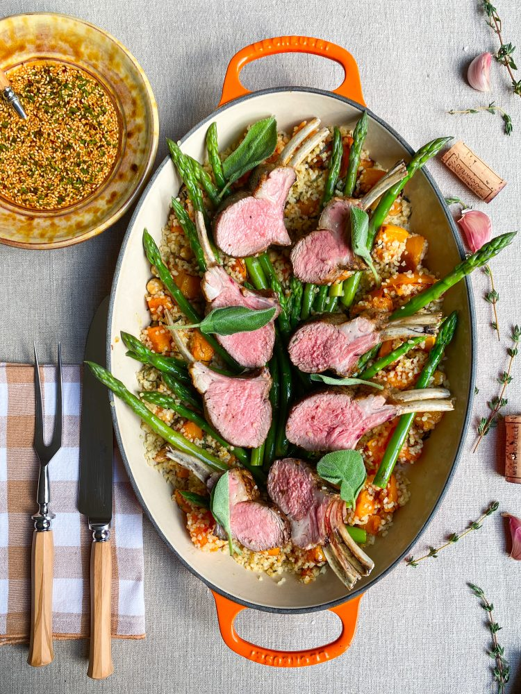 Roasted Lamb rack, bulgur, Aleppo chilly sesame sauce
