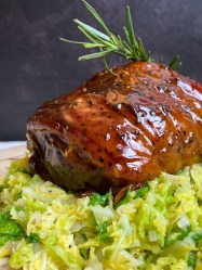 Lamb leg roast with savoy cabbage