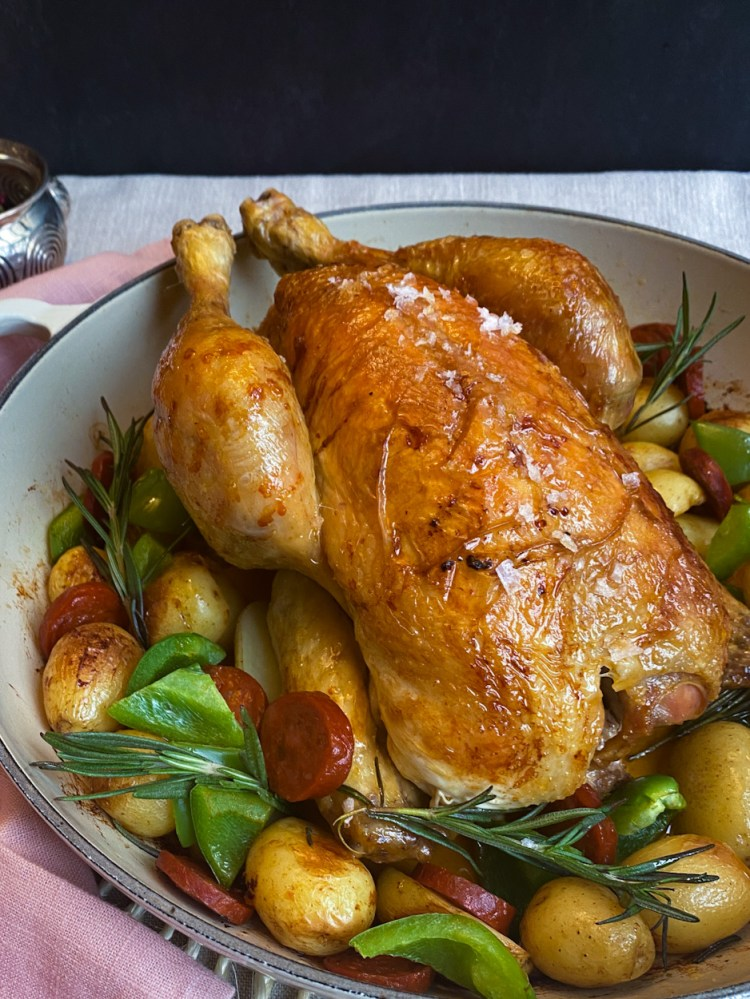 Roasted chicken with potatoes and chorizo