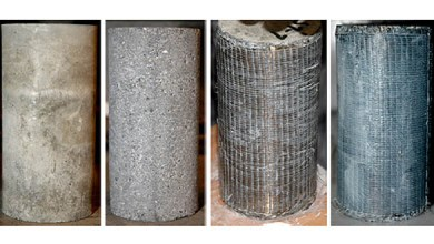 Photo of Concrete Cylinders Confined with Basalt Fibre Reinforced Polymer